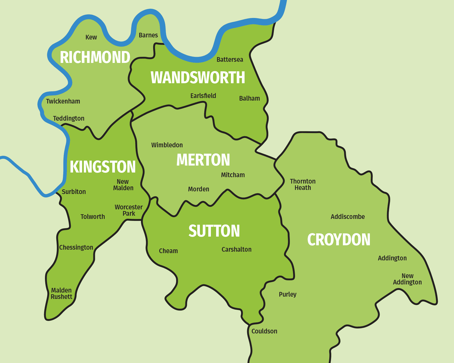 Map of south west London boroughs