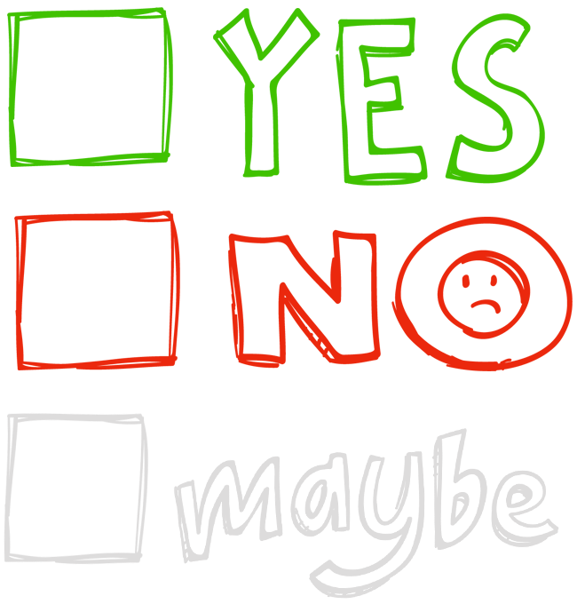 YES, NO, MAYBE graphic